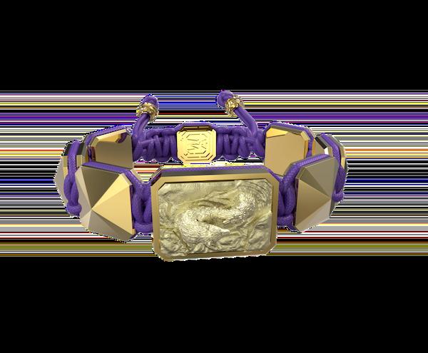 Comprar Pulsera Proud Of You con cerámica y escultura acabadas en Oro Amarillo de 18k. Hilo violeta.
