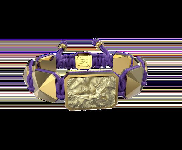 Comprar Pulsera I Love Me con cerámica y escultura acabadas en Oro Amarillo de 18k. Hilo violeta.