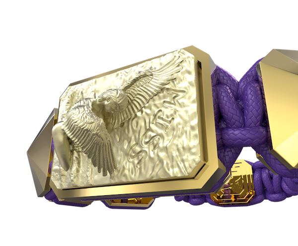 Comprar Pulsera Miss You con cerámica y escultura acabadas en Oro Amarillo de 18k. Hilo violeta.