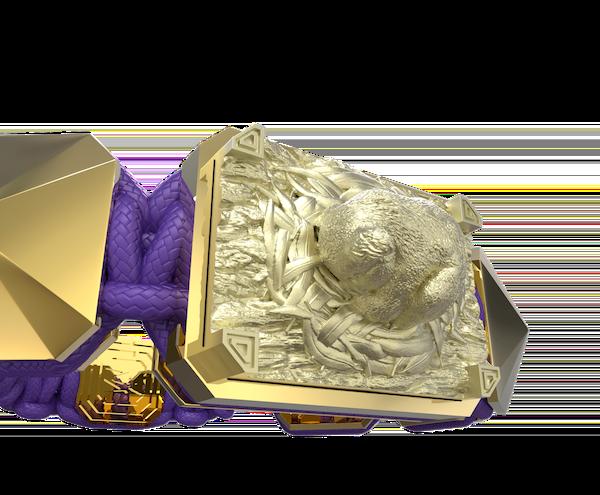 Comprar Pulsera I Love My Baby con cerámica y escultura acabadas en Oro Amarillo de 18k. Hilo violeta.