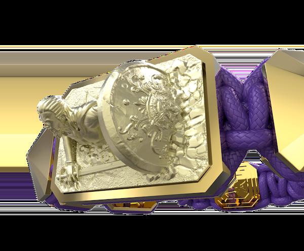 Comprar Pulsera I Will Fight till the End con cerámica y escultura acabadas en Oro Amarillo de 18k. Hilo violeta.