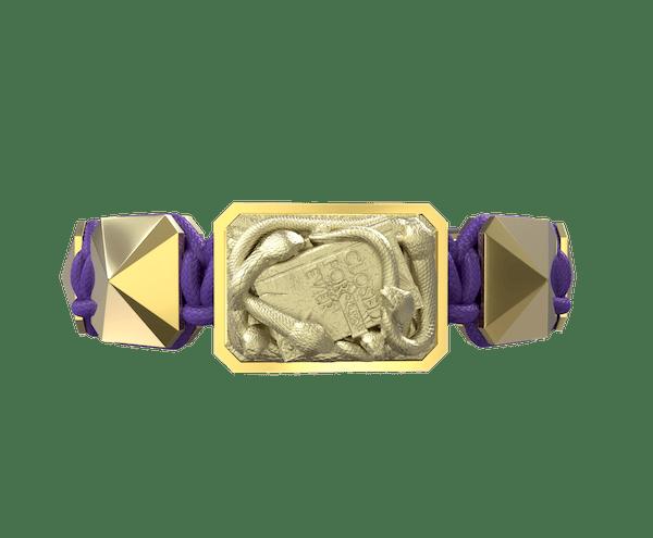 Comprar Pulsera I Quit con cerámica y escultura acabadas en Oro Amarillo de 18k. Hilo violeta.