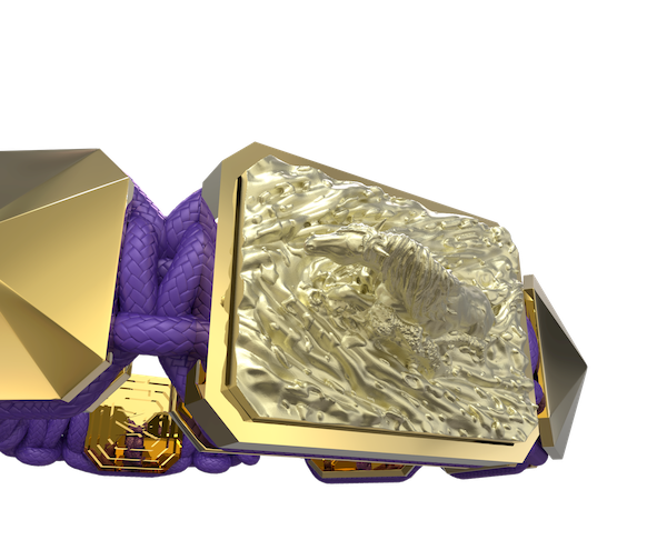 Comprar Pulsera I'm Different con cerámica y escultura acabadas en Oro Amarillo de 18k. Hilo violeta.