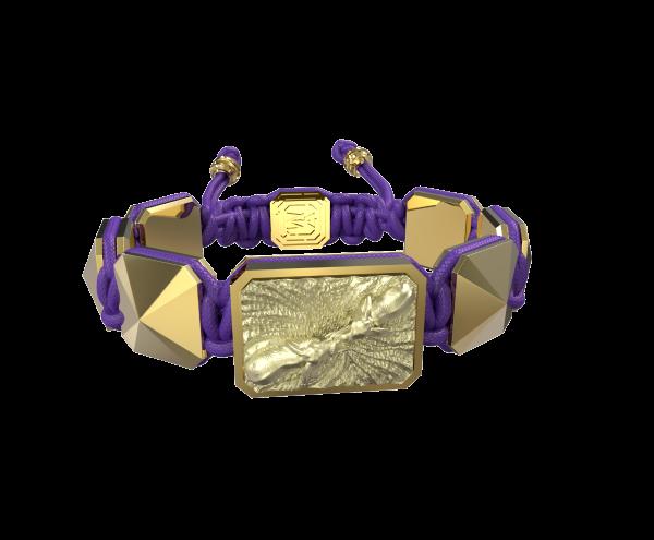 Comprar Pulsera Forever In My Heart con cerámica y escultura acabadas en Oro Amarillo de 18k. Hilo violeta
