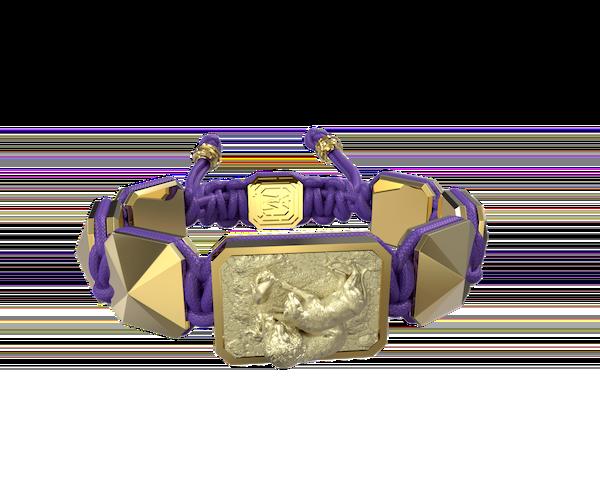 Comprar Pulsera My Family First con cerámica y escultura acabadas en Oro Amarillo de 18k. Hilo violeta