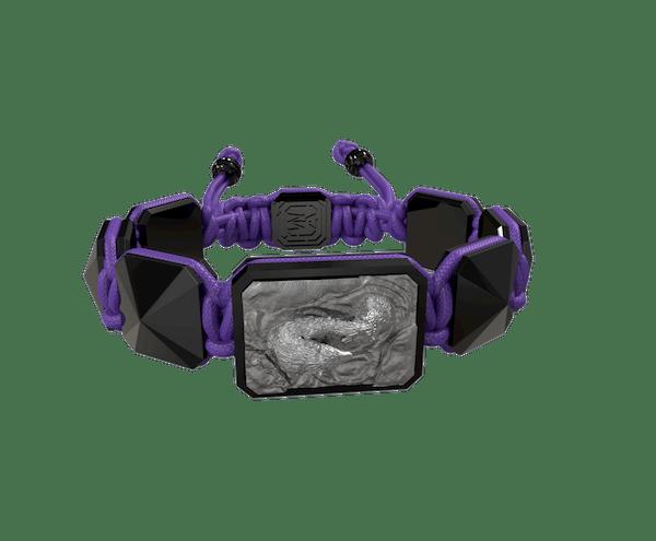 Comprar Pulsera Proud Of You con cerámica negra y escultura acabada en color antracita. Hilo violeta.