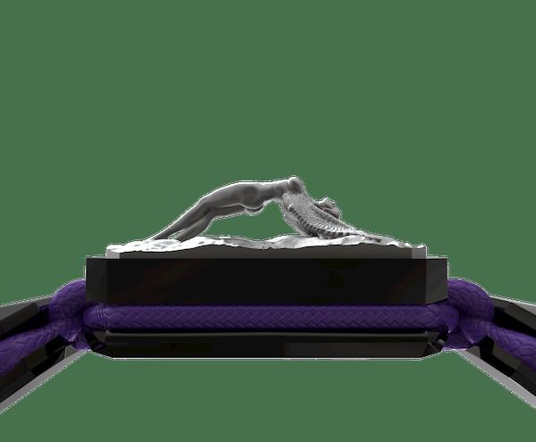 Comprar Pulsera I Love Me con cerámica negra y escultura acabada en color antracita. Hilo violeta.