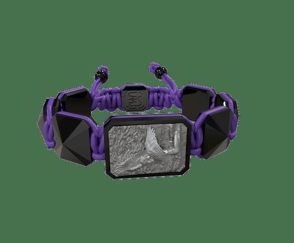 Comprar Pulsera Miss You con cerámica negra y escultura acabada en color antracita. Hilo violeta.