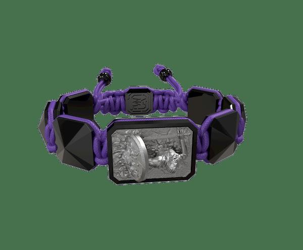 Comprar Pulsera I Will Fight till the End con cerámica negra y escultura acabada en color antracita. Hilo violeta.