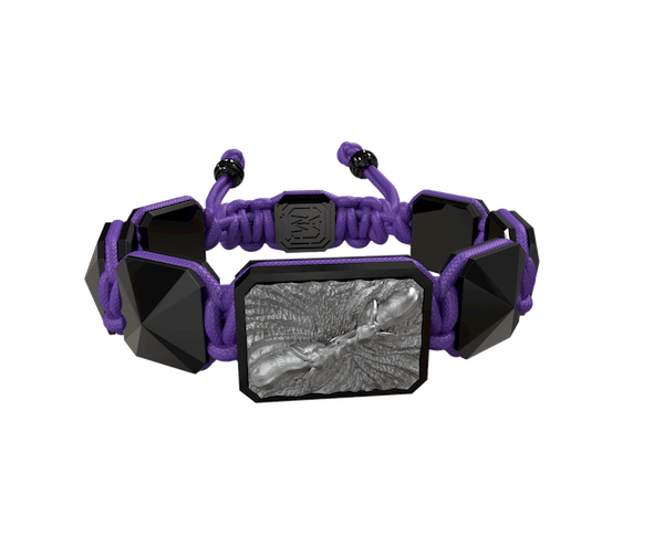 Shop Forever In My Heart bracelet with black ceramic and sculpture finished in anthracite color complemented with a violet coloured cord.