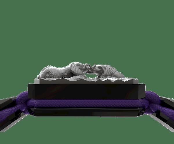 Comprar Pulsera Forever In My Heart con cerámica negra y escultura acabada en color antracita. Hilo violeta.