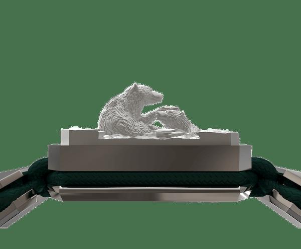 Comprar Pulsera Proud Of You con cerámica y escultura acabadas en efecto Platino. Hilo verde oscuro.