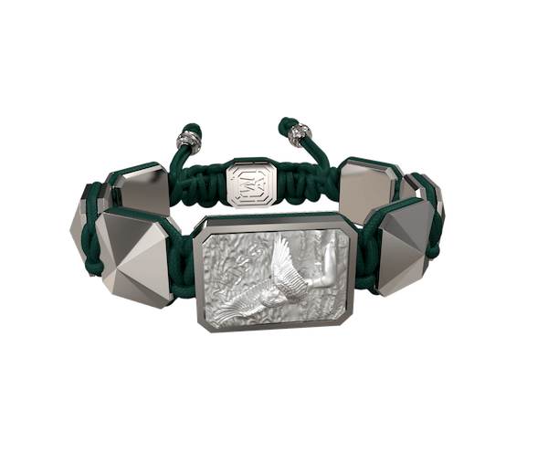 Shop Miss You bracelet with ceramic and sculpture finished in a Platinum effect complemented with a dark green coloured cord.