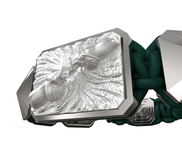 Comprar Pulsera Forever In My Heart con cerámica y escultura acabadas en efecto Platino. Hilo verde oscuro.
