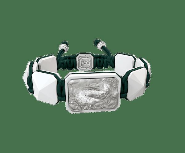 Comprar Pulsera Proud Of You con cerámica blanca y escultura acabada en efecto Platino. Hilo verde oscuro.