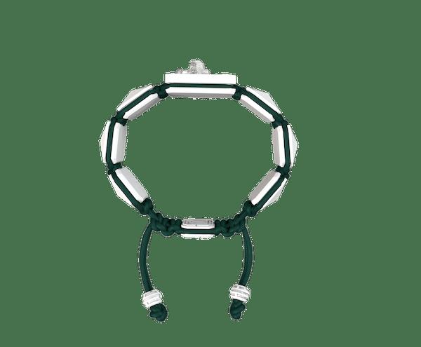 Comprar Pulsera Miss You con cerámica blanca y escultura acabada en efecto Platino. Hilo verde oscuro.