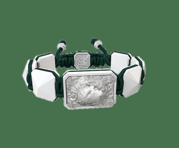 Comprar Pulsera I Love Me con cerámica blanca y escultura acabada en efecto Platino. Hilo verde oscuro.