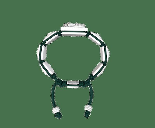 Comprar Pulsera I Quit con cerámica blanca y escultura acabada en efecto Platino. Hilo verde oscuro.
