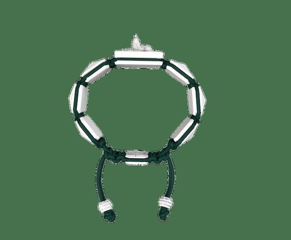 Comprar Pulsera Selfmade con cerámica blanca y escultura acabada en efecto Platino. Hilo verde oscuro.