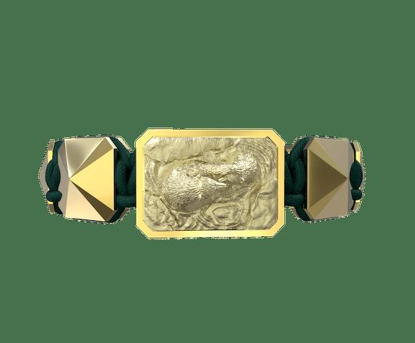 Comprar Pulsera Proud Of You con cerámica y escultura acabadas en Oro Amarillo de 18k. Hilo verde oscuro.