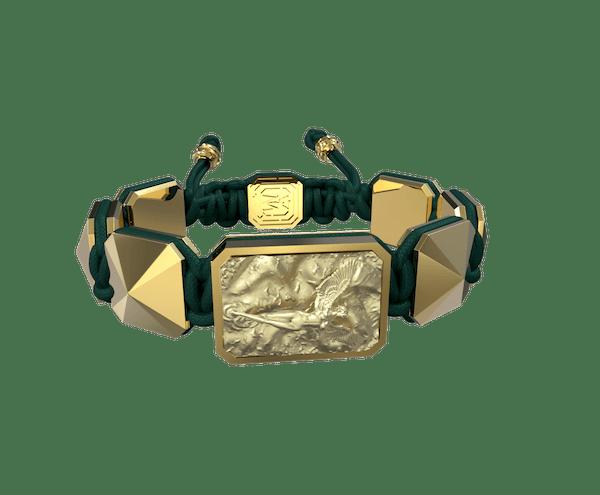 Comprar Pulsera I Love Me con cerámica y escultura acabadas en Oro Amarillo de 18k. Hilo verde oscuro.