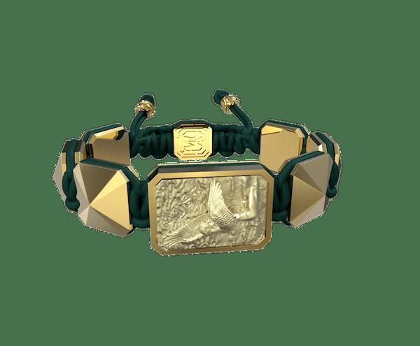 Comprar Pulsera Miss You con cerámica y escultura acabadas en Oro Amarillo de 18k. Hilo verde oscuro.