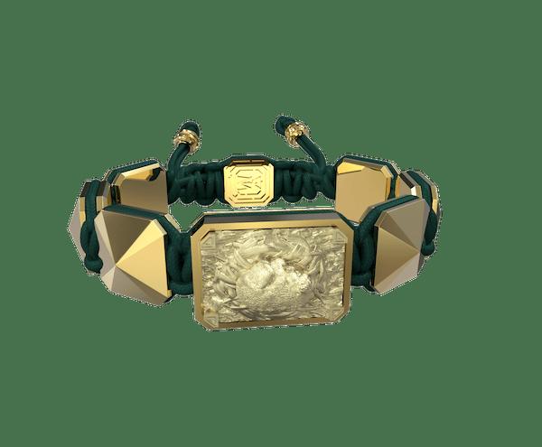 Comprar Pulsera I Love My Baby con cerámica y escultura acabadas en Oro Amarillo de 18k. Hilo verde oscuro.