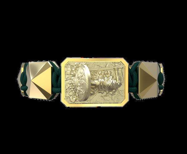 Comprar Pulsera I Will Fight till the End con cerámica y escultura acabadas en Oro Amarillo de 18k. Hilo verde oscuro.
