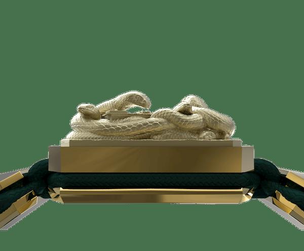 Comprar Pulsera I Quit con cerámica y escultura acabadas en Oro Amarillo de 18k. Hilo verde oscuro.