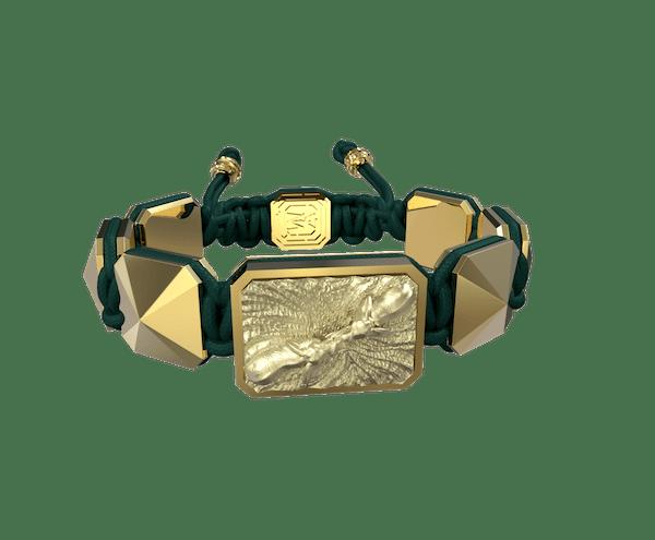 Comprar Pulsera Forever In My Heart con cerámica y escultura acabadas en Oro Amarillo de 18k. Hilo verde oscuro.