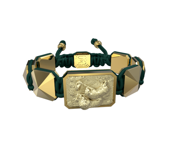 Comprar Pulsera My Family First con cerámica y escultura acabadas en Oro Amarillo de 18k. Hilo verde oscuro.