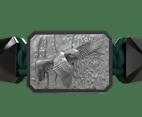 Comprar Pulsera Miss You con cerámica negra y escultura acabada en color antracita. Hilo verde oscuro.