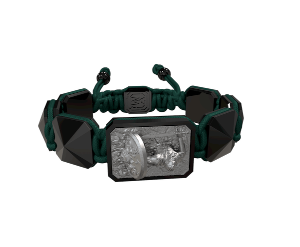 Shop I Will Fight till the End bracelet with black ceramic and sculpture finished in anthracite color complemented with a dark green coloured cord.