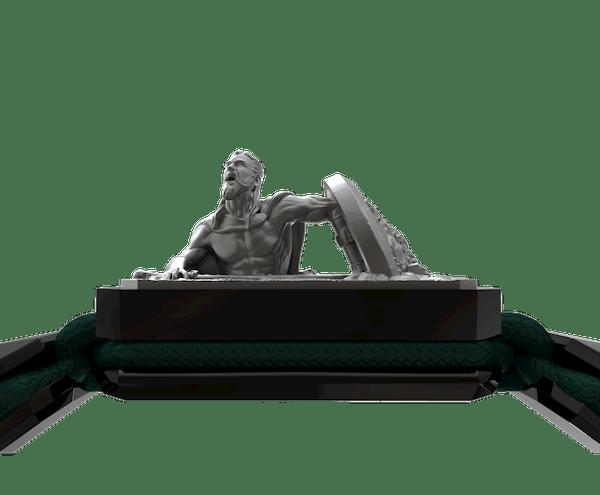 Comprar Pulsera I Will Fight till the End con cerámica negra y escultura acabada en color antracita. Hilo verde oscuro.
