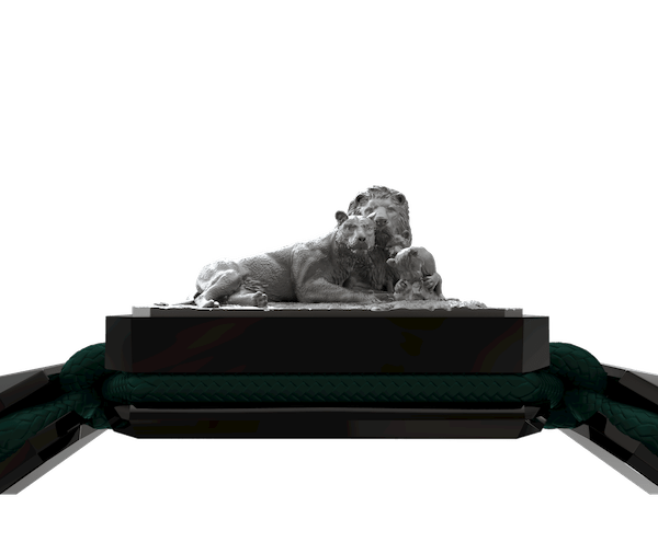 Comprar Pulsera My Family First con cerámica negra y escultura acabada en color antracita. Hilo verde oscuro.