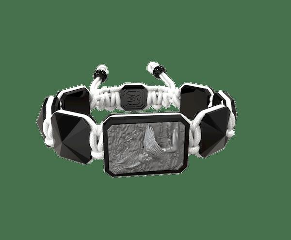 Comprar Pulsera Miss You con cerámica negra y escultura acabada en color antracita. Hilo blanco.