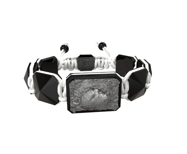 Shop I Love My Baby bracelet with black ceramic and sculpture finished in anthracite color complemented with a white coloured cord.