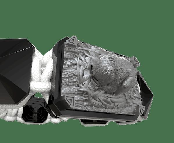Comprar Pulsera I Love My Baby con cerámica negra y escultura acabada en color antracita. Hilo blanco.