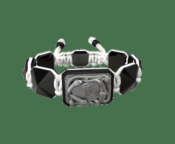 Comprar Pulsera I Quit con cerámica negra y escultura acabada en color antracita. Hilo blanco.
