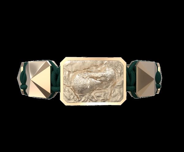 Comprar Pulsera Proud Of You con cerámica y escultura acabadas en Oro Rosa de 18k. Hilo verde oscuro.