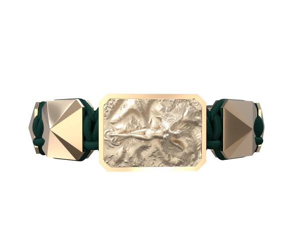 Comprar Pulsera I Love Me  con cerámica y escultura acabadas en Oro Rosa de 18k. Hilo verde oscuro.