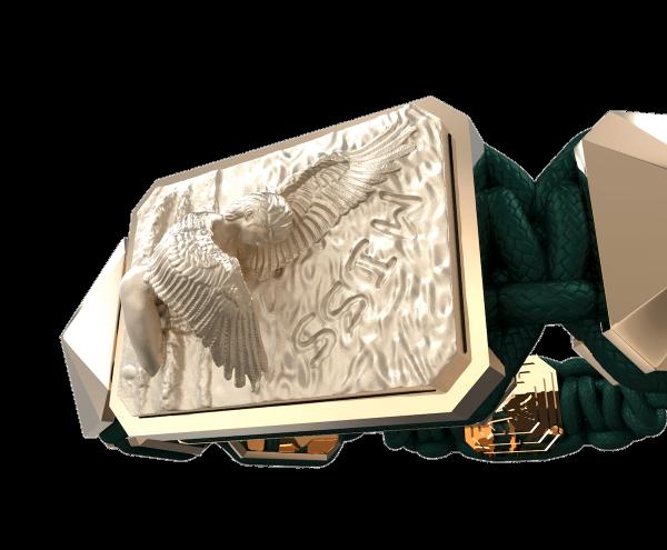 Comprar Pulsera Miss You con cerámica y escultura acabadas en Oro Rosa de 18k. Hilo verde oscuro.