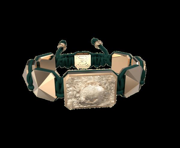 Comprar Pulsera I Love My Baby con cerámica y escultura acabadas en Oro Rosa de 18k. Hilo verde oscuro.