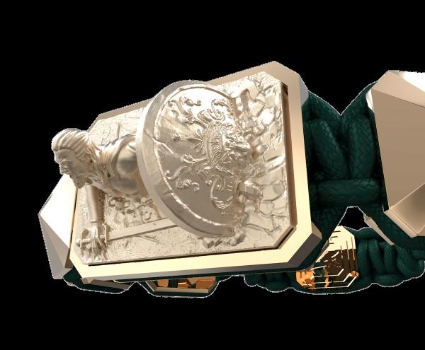 Comprar Pulsera I Will Fight till the End con cerámica y escultura acabadas en Oro Rosa de 18k. Hilo verde oscuro.