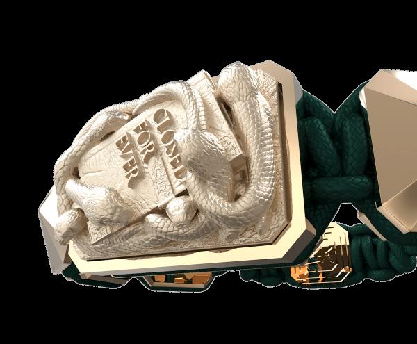 Comprar Pulsera I Quit con cerámica y escultura acabadas en Oro Rosa de 18k. Hilo verde oscuro.
