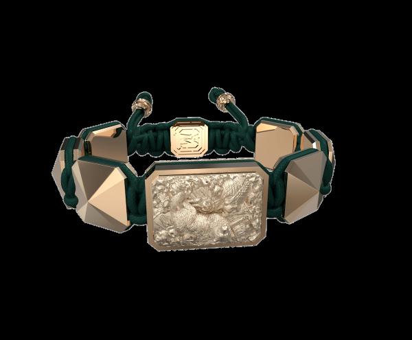 Comprar Pulsera Selfmade con cerámica y escultura acabadas en Oro Rosa de 18k. Hilo verde oscuro.