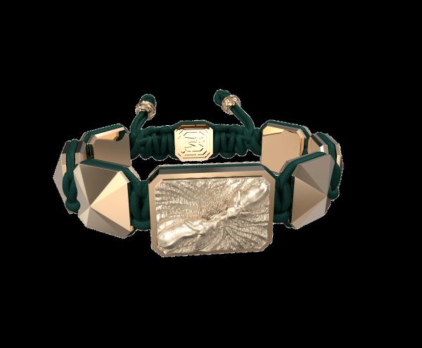 Comprar Pulsera Forever In My Heart con cerámica y escultura acabadas en Oro Rosa de 18k. Hilo verde oscuro.