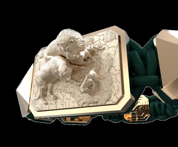 Comprar Pulsera My Family First con cerámica y escultura acabadas en Oro Rosa de 18k. Hilo verde oscuro.